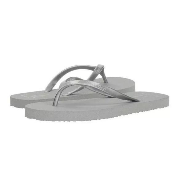 Calvin Klein Shoes - Calvin Klein Sarinah Silver Flip Flops Sandals